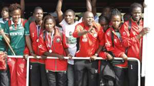 Harambee Starlets were received at JKIA by FKF President Nick Mwendwa