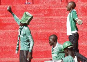 Armed Gor Mahia fans at Nyayo Stadium during the aborted 'Mashemeji derby'