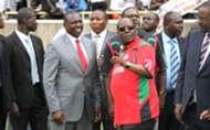 Deputy President Williamson Ruto and FKF boss Sam Nyamweya at Kasarani