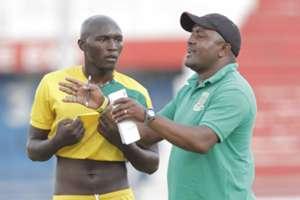 Mathare United coach Francis Kimanzi and David Mwangi