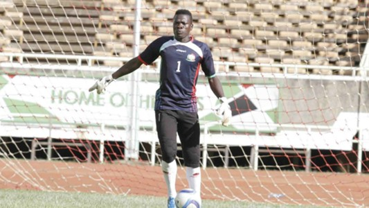 Goalkeeper Patrick Matasi trains for the first time with Harambee Stars