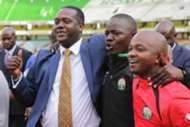 Cabinet Secretary Hassan Wario embraces with FKF President Nick Mwendwa at the final whistle