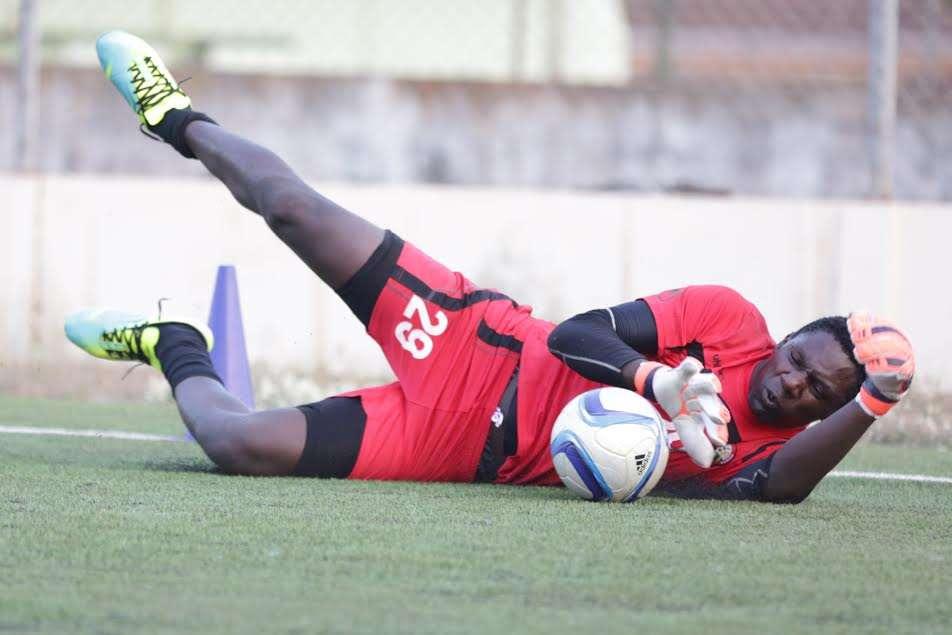 Harambee Stars and Gor Mahia goalkeeper Boniface Oluoch trains in Guinea Bissau