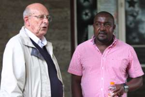 Mathare United chairman Bob Munro with new coach Francis Kimanzi