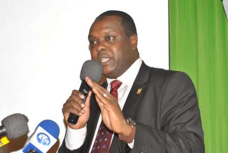 Cabinet Secretary for Sports Hassan Wario speaks to Gor Mahia players during the function