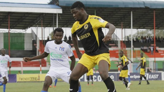 Tusker striker Allan Wanga in action v Muhoroni