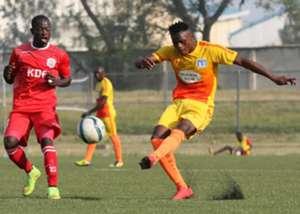 Ulinzi Stars striker Ezekiel Otuoma battles a Muhoroni Youth player
