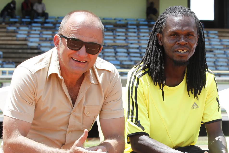 AFC Leopards assistant coach Ezekiel Akwana with coach Zdravko Logarusic