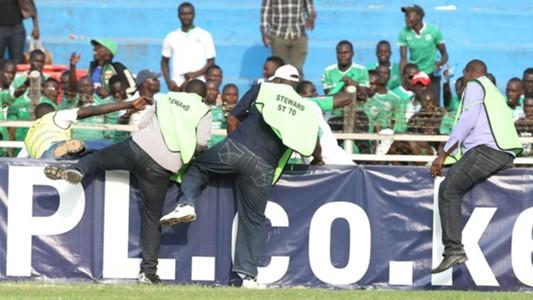 Gor Mahia stewards attacking another official after hell broke loose at Nyayo Stadium