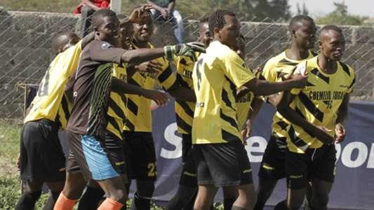 Chemelil Sugar players celebrate after scoring the winning goal against Sony Sugar. Chemelil won 2-1.