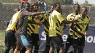 Chemelil Sugar players celebrate after scoring the winning goal against Sony Sugar. Chemelil won 2-1.