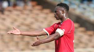 Harambee Stars captain Victor Wanyama reacts to a foul during the tense friendly at Kasarani