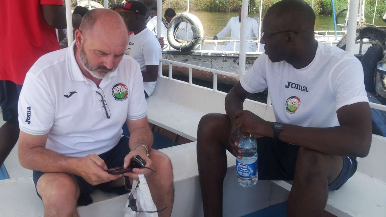 Kenya coach Bobby Williamson and assistant Musa Otieno in Egypt.