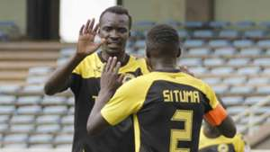 Tusker midfielder Humphrey Mieno celebrates with James Situma