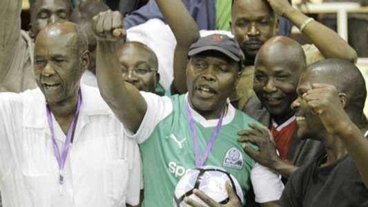 Gor Mahia chairman Ambrose Rachier celebrates retaining the top seat at Kasarani.