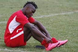 Harambee Stars midfielder Ayub Timbe looks crestfallen after the final whistle at Nyayo Stadium