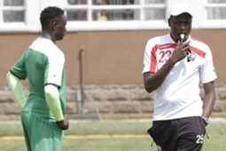 Harambee Stars coach Stanley Okumbi with captain Victor Wanyama