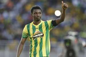 Yanga FC captain Nadir Haroub reacts after scoring his penalty kick against Azam on Wednesday