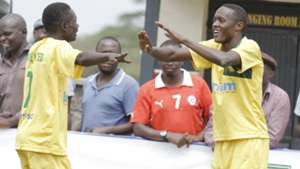 Mathare United players Michael Odhiambo and John Mwangi celebrate against Gor Mahia