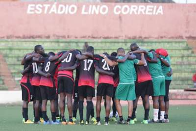 Harambee Stars players pray before training ahead of their match on Wednesday