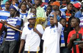 AFC Leopards fans react during their league match against Bandari in Mombasa.