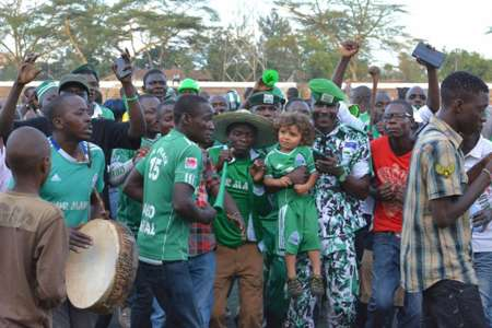 Gor Mahia fans celebrate after gunning down Ulinzi Stars at City Stadium