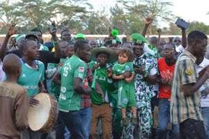 Gor Mahia fans celebrate after gunning down Ulinzi Stars at City Stadium