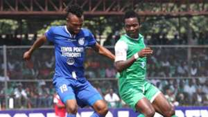 Bandari defender Felly Mulumba v George Odhiambo of Gor Mahia