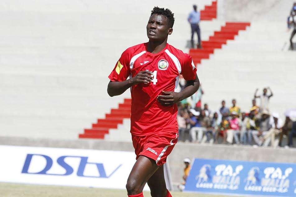 Harambee Stars striker Michael Olunga wheels away in delight after scoring against Burundi on Wednesday