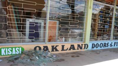 The damage caused by rowdy Gor Mahia fans after their team lost 3-2 Sofapaka FC at Machakos Stadium.
