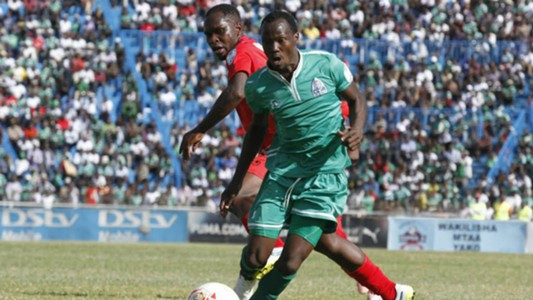 Edwin Wafula of AFC Leopards challenges Godfrey Walusimbi of Gor Mahia