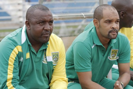 Mathare United coach Francis Kimanzi and assistant Salim Ali