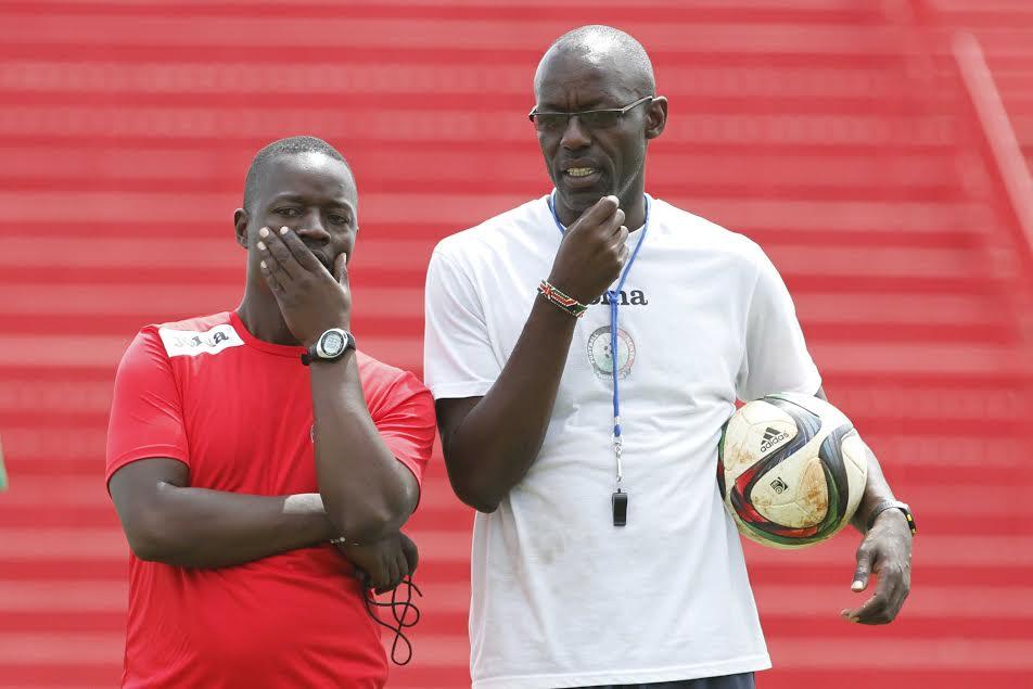 Harambee Stars assistant coach Musa Otieno (r) confident they will overcome Cape Verde