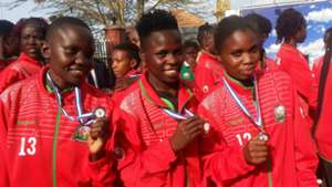Neddy Atieno (c) is among the players who did wonders for the Starlets in Uganda