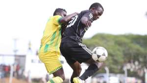 Patillah Omoto of Kariobangi Sharks (L) tackle Masita Masuta