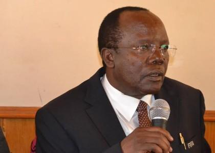 President Sam Nyamweya speaks during the meeting held in Nairobi