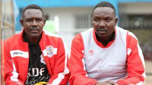 Ulinzi Stars coach Benjamin Nyangweso and Francis Onyiso
