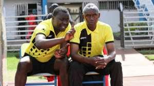 Western Stima coach Henry Omino and Hesbon Nyabinge