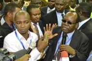 FKF President Sam Nyamweya congratulates Nick Mwendwa