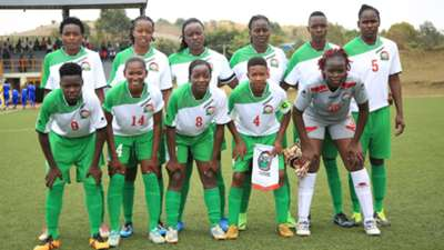 Harambee Starlets parade before taking on Burundi in their second match on Tuesday