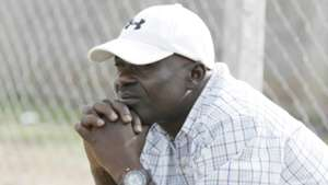 Vihiga County coach Edward Manoah follows proceedings