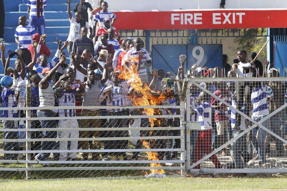 AFC Leopards fans lit a fire at Gate 9 during the ill-fated derby against rivals Gor Mahia