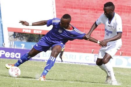 Bandari striker Anthony Kimani and John Amboko of Nairobi City Stars