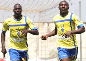 Western Stima's Wesley Kemboi and Kennedy Otieno celebrate against AFC leopards