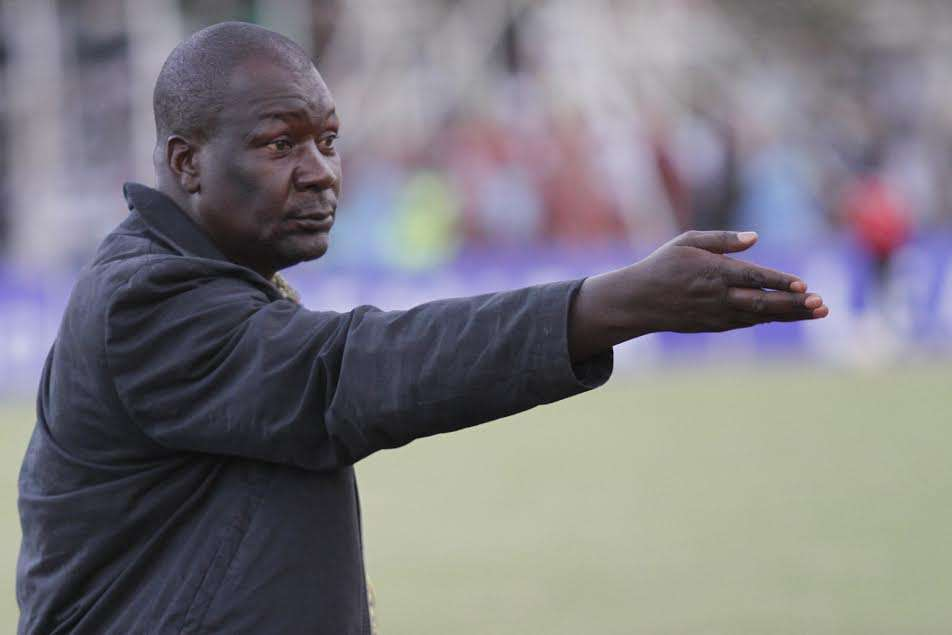 Ulinzi Stars coach Robert Matano gestures to his players as Gor Mahia dropped vital points at Afraha Stadium