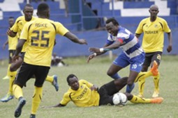 AFC Leopards striker Kepha Aswani v Euigine Asike of Tusker