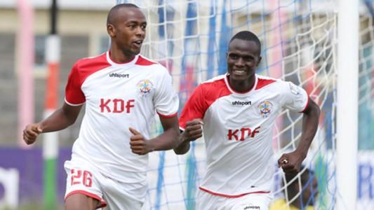 Ulinzi Stars striker Daniel Waweru (L) celebrate scoring with Enosh Ochieng