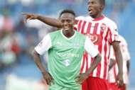 Gor Mahia striker Jacob Keli reacts after missed penalty against Ushuru