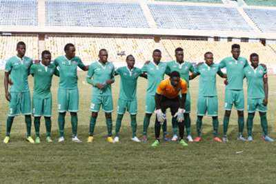 Gor Mahia players line up before facing Malakia of South Sudan. Gor Mahia won 2-1