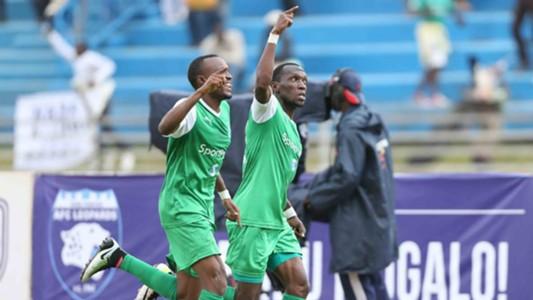 Gor Mahia striker Meddie Kagere and Jacques Tuyisenge celebrates scoring the opener at Nyayo Stadium